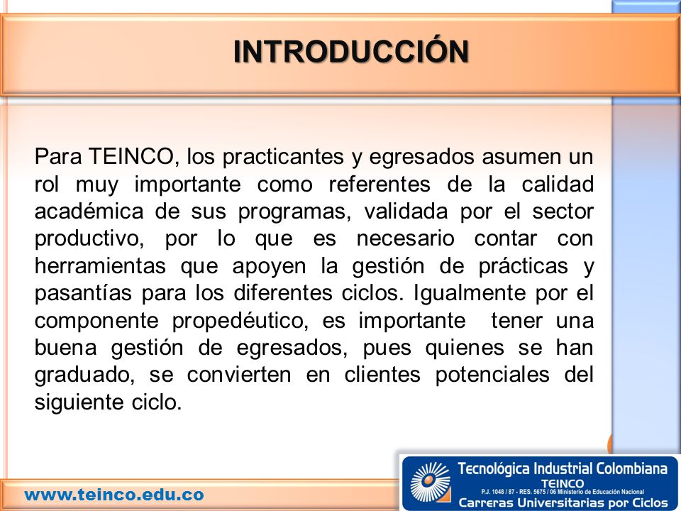 INTRODUCCIÓN www.teinco.edu.co.