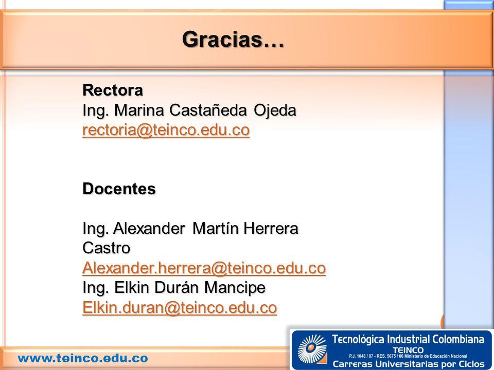 Gracias… Rectora Ing. Marina Castañeda Ojeda rectoria@teinco.edu.co
