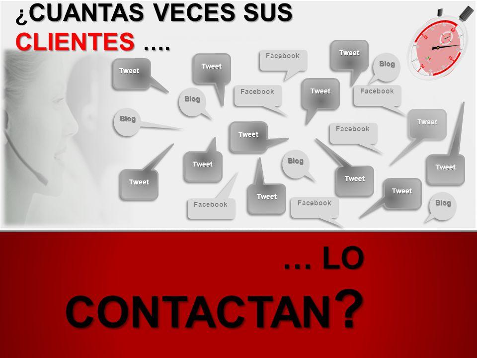 … lO CONTACTAN ¿CUANTAS VECES SUS CLIENTES …. Tweet Facebook Tweet