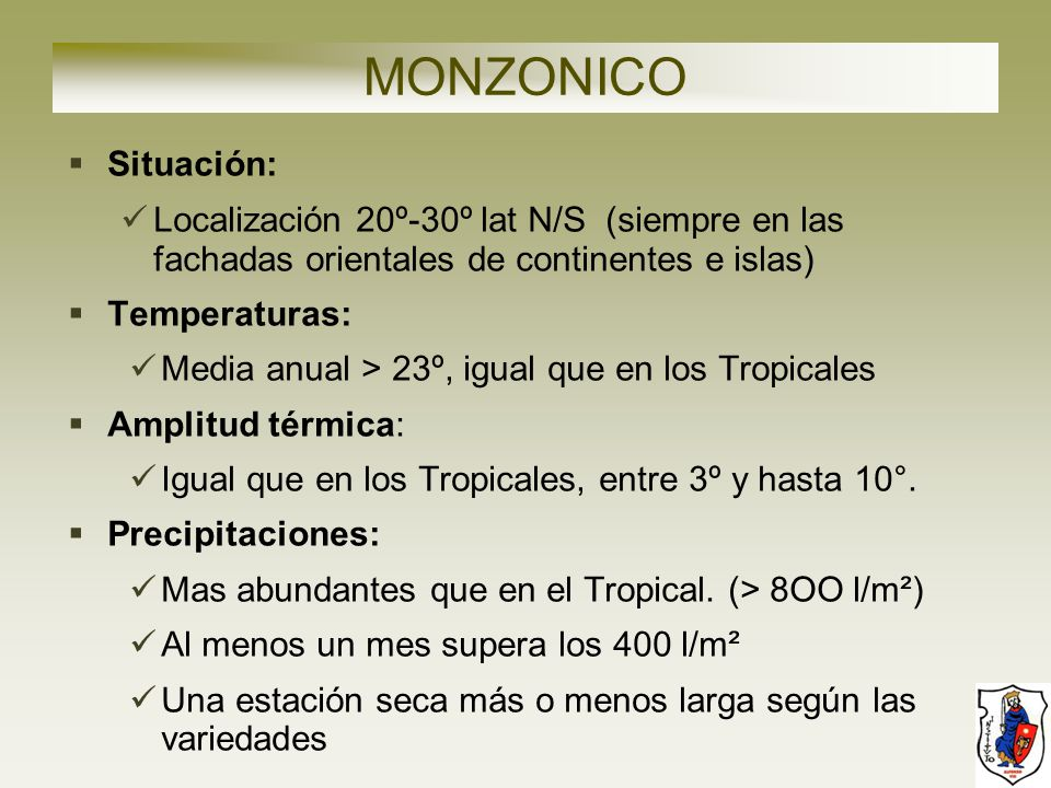 MONZONICO Situación: Localización 20º-30º lat N/S (siempre en las fachadas orientales de continentes e islas)