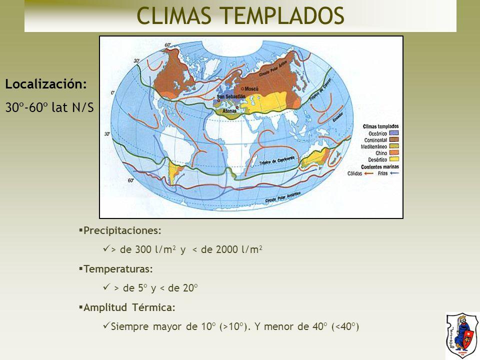 CLIMAS TEMPLADOS Localización: 30º-60º lat N/S Precipitaciones: