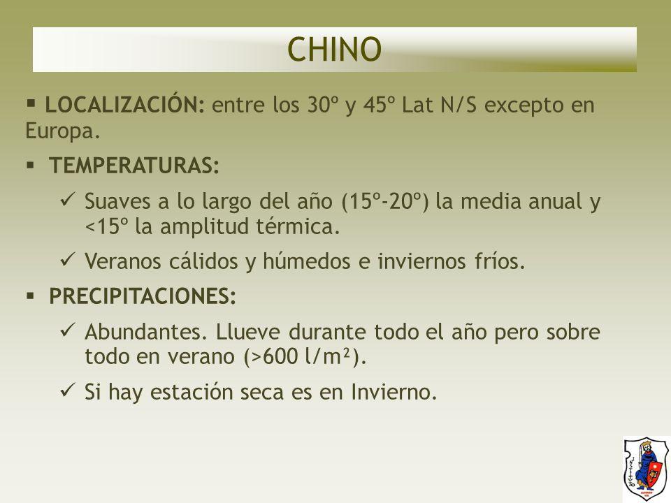 CHINO LOCALIZACIÓN: entre los 30º y 45º Lat N/S excepto en Europa.