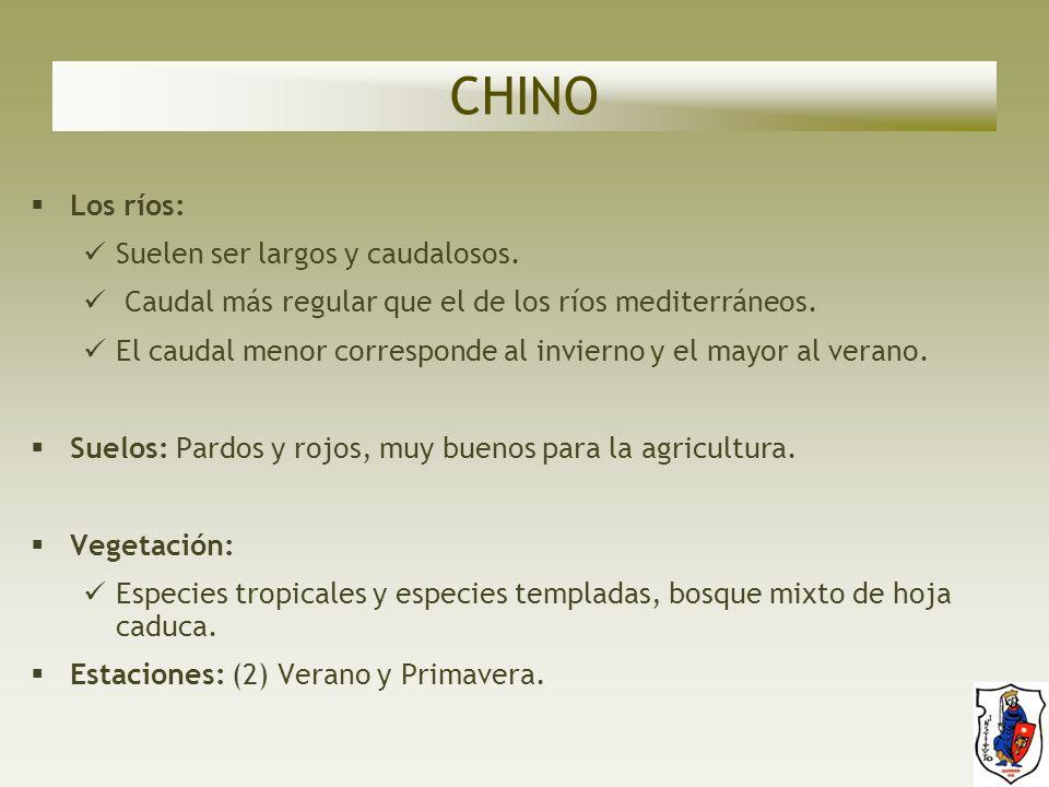 CHINO Los ríos: Suelen ser largos y caudalosos.