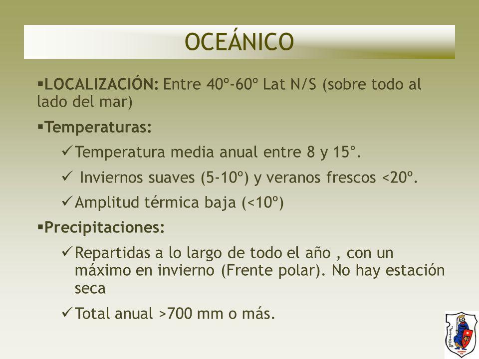 OCEÁNICO LOCALIZACIÓN: Entre 40º-60º Lat N/S (sobre todo al lado del mar) Temperaturas: Temperatura media anual entre 8 y 15°.