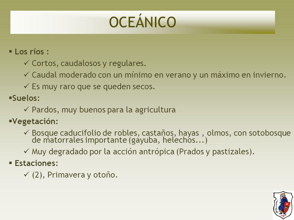 OCEÁNICO Los ríos : Cortos, caudalosos y regulares.
