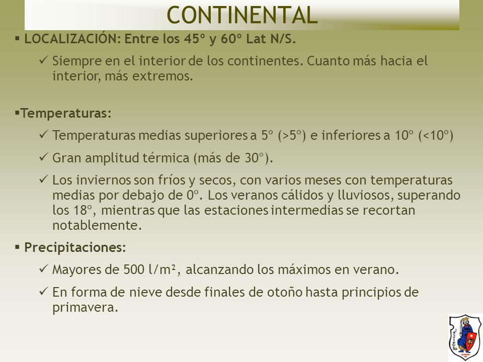 CONTINENTAL LOCALIZACIÓN: Entre los 45º y 60º Lat N/S.