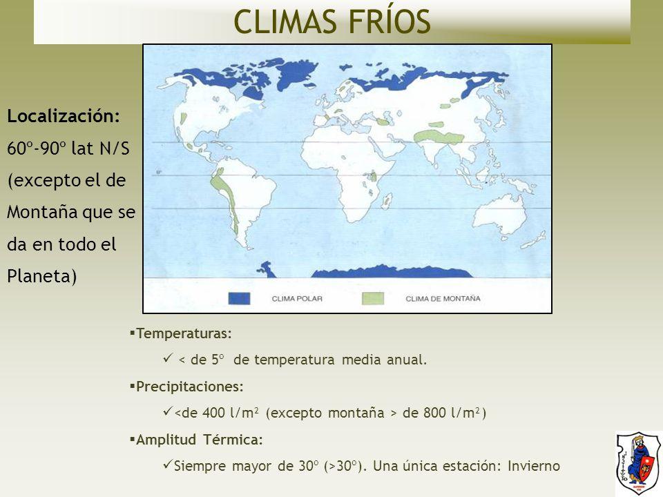 CLIMAS FRÍOS Localización: 60º-90º lat N/S (excepto el de