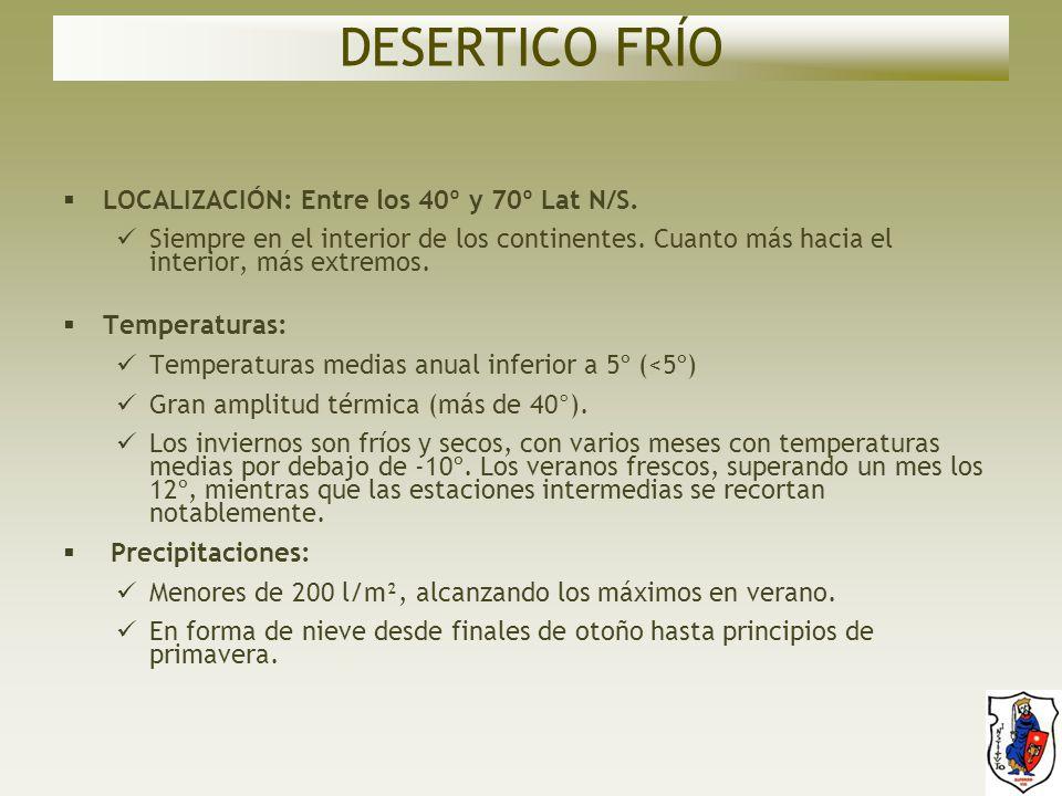 DESERTICO FRÍO LOCALIZACIÓN: Entre los 40º y 70º Lat N/S.