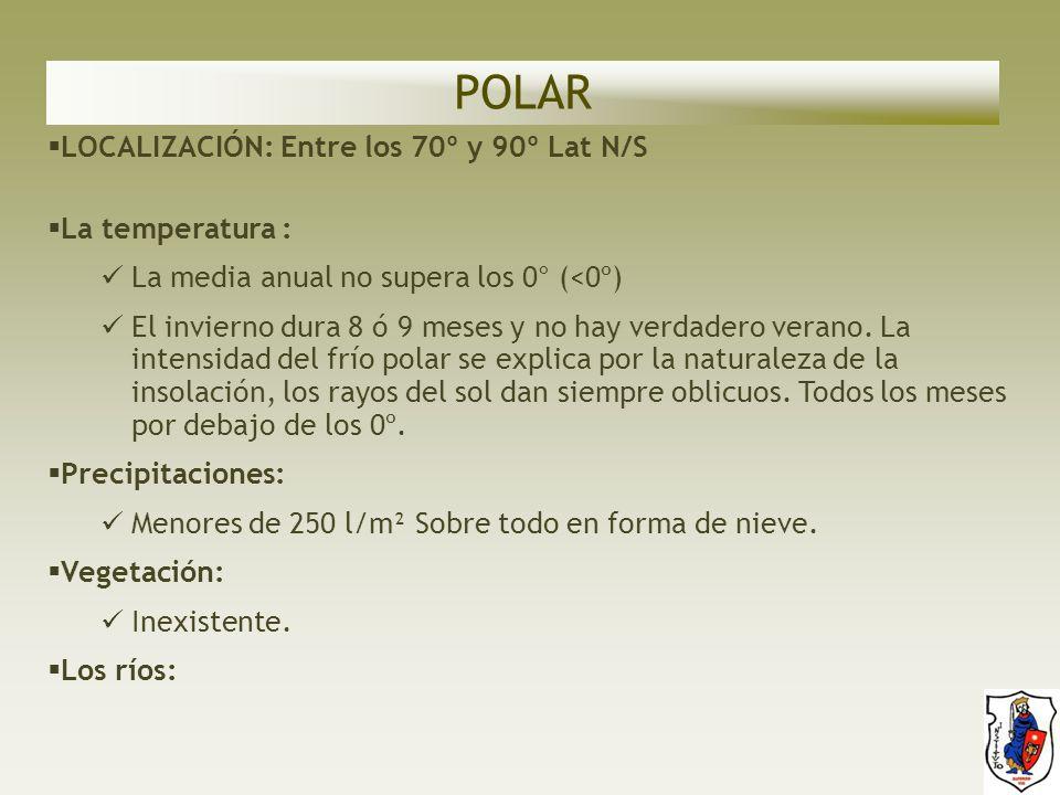 POLAR LOCALIZACIÓN: Entre los 70º y 90º Lat N/S La temperatura :
