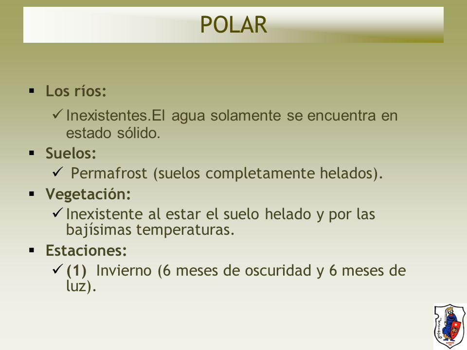 POLAR Los ríos: Inexistentes.El agua solamente se encuentra en estado sólido. Suelos: Permafrost (suelos completamente helados).