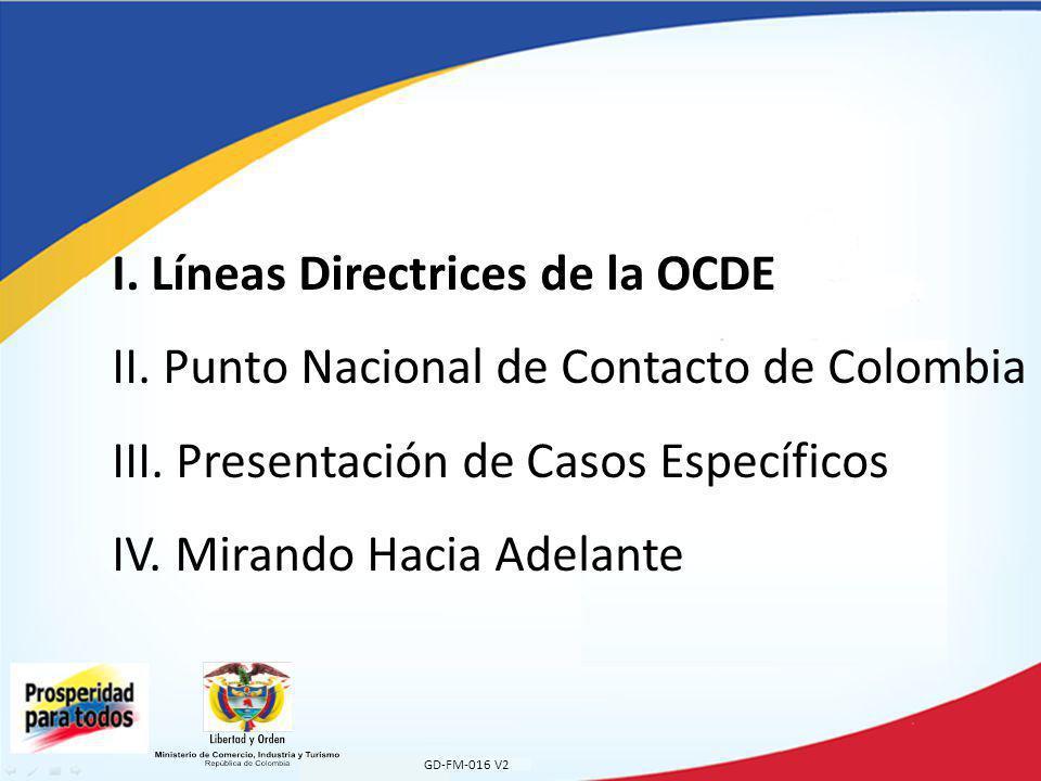 I. Líneas Directrices de la OCDE II
