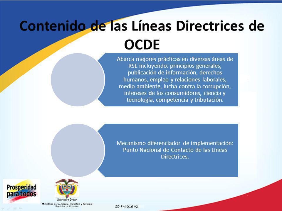 Contenido de las Líneas Directrices de OCDE