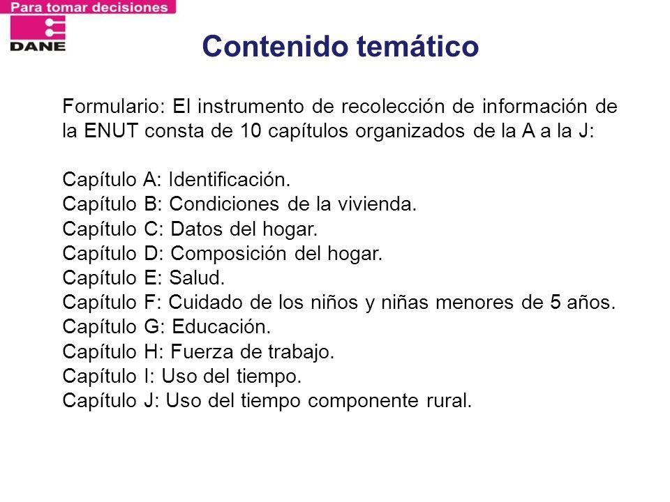 Contenido temáticoFormulario: El instrumento de recolección de información de la ENUT consta de 10 capítulos organizados de la A a la J: