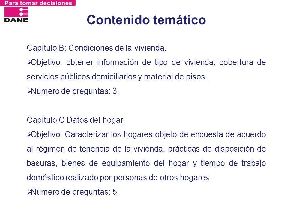 Contenido temático Capítulo B: Condiciones de la vivienda.