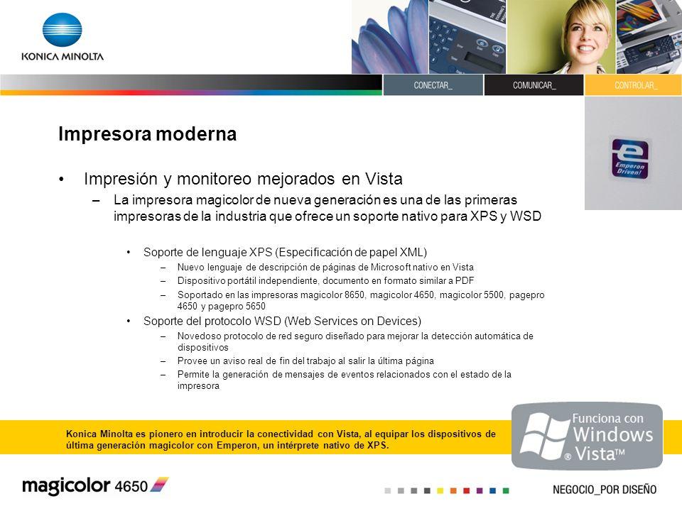 Impresora moderna Impresión y monitoreo mejorados en Vista