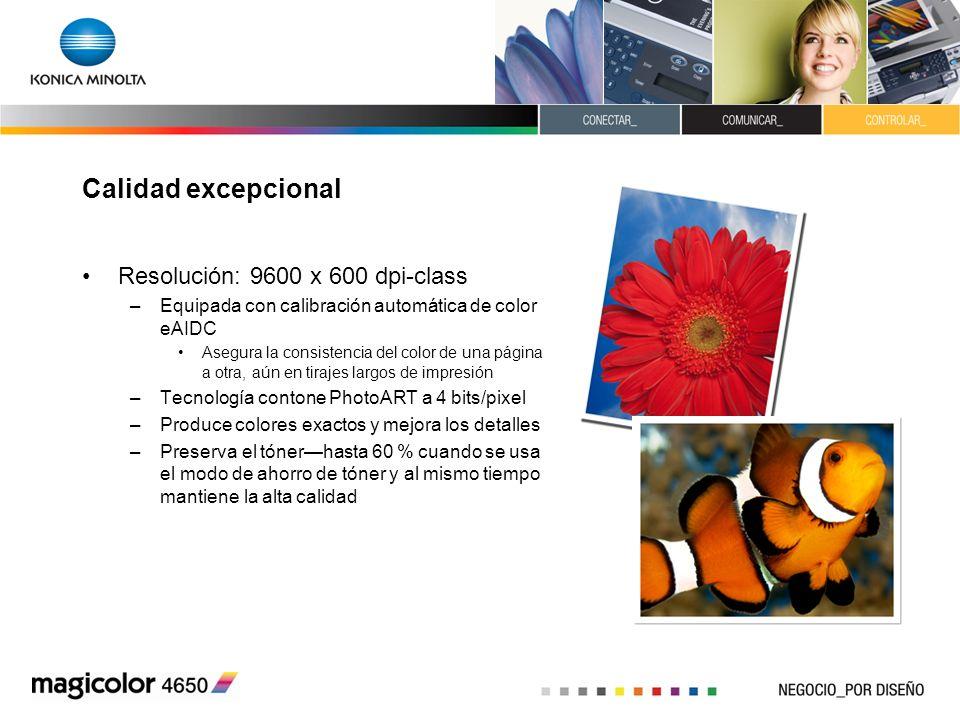 Calidad excepcional Resolución: 9600 x 600 dpi-class
