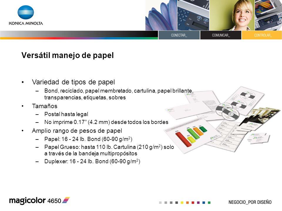 Versátil manejo de papel