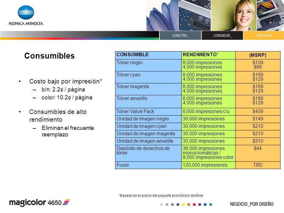 Consumibles Costo bajo por impresión* Consumibles de alto rendimiento