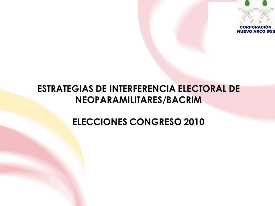 ESTRATEGIAS DE INTERFERENCIA ELECTORAL DE NEOPARAMILITARES/BACRIM