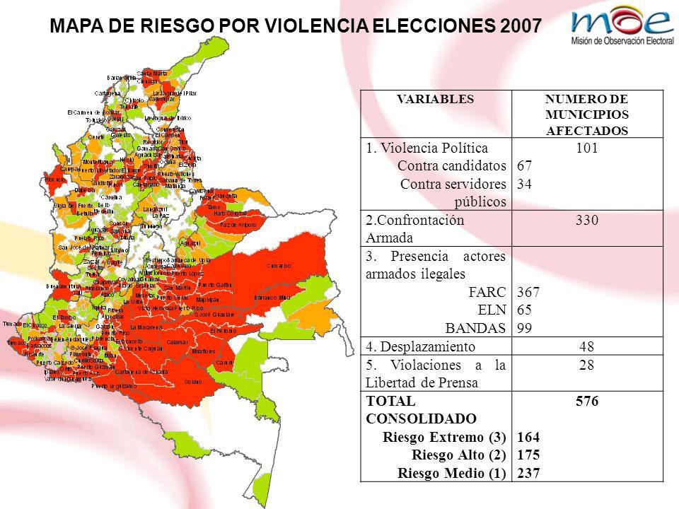 NUMERO DE MUNICIPIOS AFECTADOS