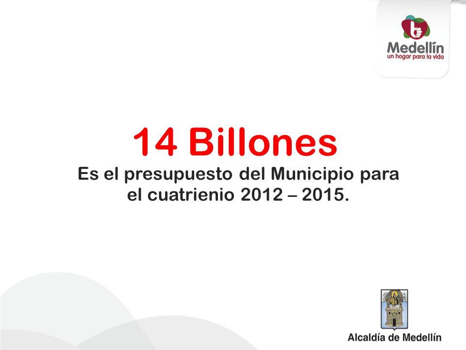 Es el presupuesto del Municipio para el cuatrienio 2012 – 2015.