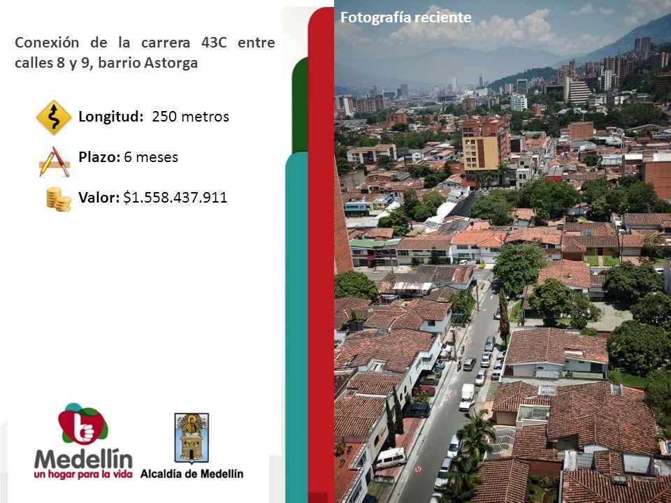 Fotografía reciente Conexión de la carrera 43C entre calles 8 y 9, barrio Astorga. Longitud: 250 metros.