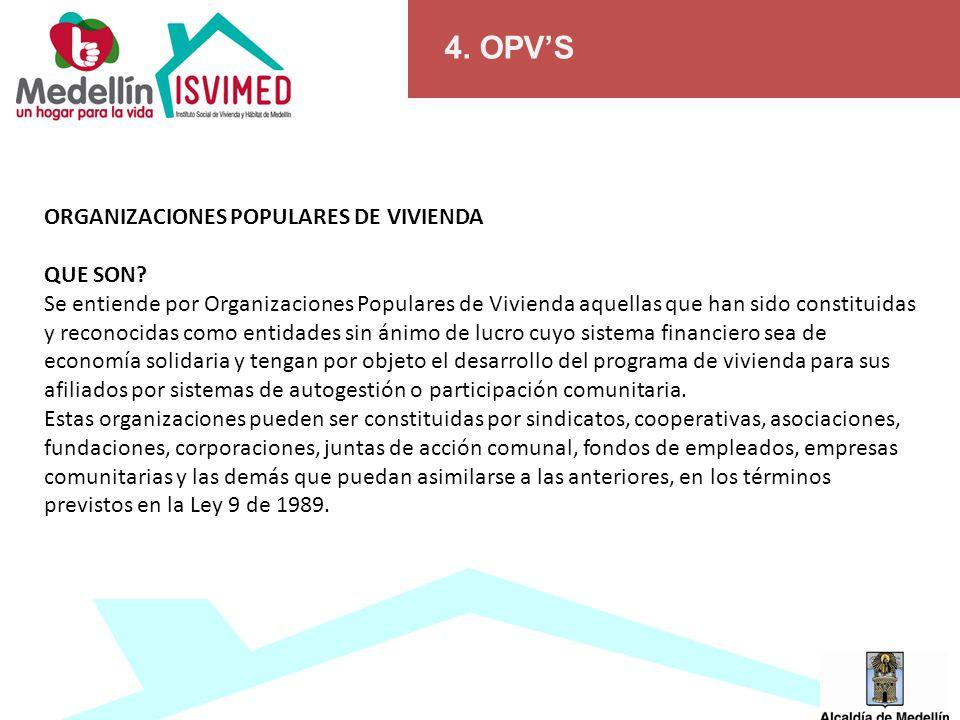4. OPV'S ORGANIZACIONES POPULARES DE VIVIENDA QUE SON