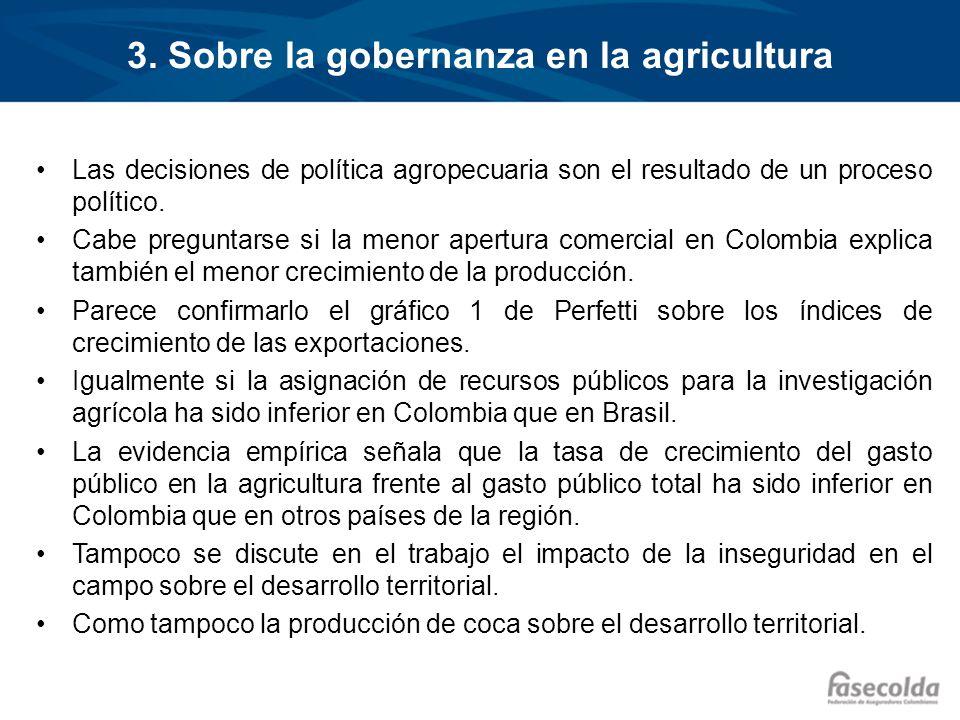3. Sobre la gobernanza en la agricultura