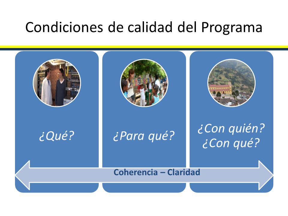 Condiciones de calidad del Programa