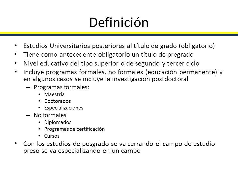 Definición Estudios Universitarios posteriores al título de grado (obligatorio) Tiene como antecedente obligatorio un título de pregrado.