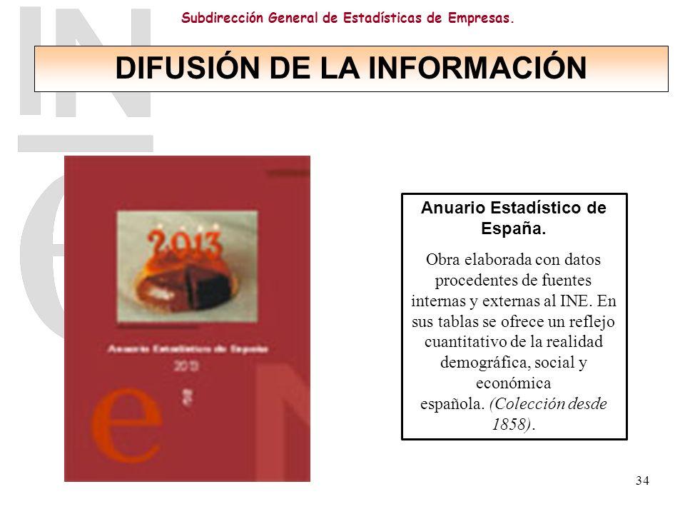 DIFUSIÓN DE LA INFORMACIÓN Anuario Estadístico de España.