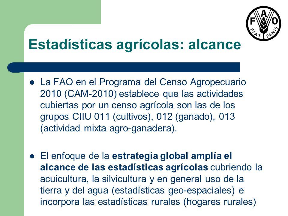Estadísticas agrícolas: alcance