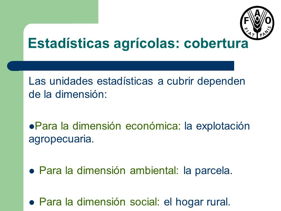 Estadísticas agrícolas: cobertura