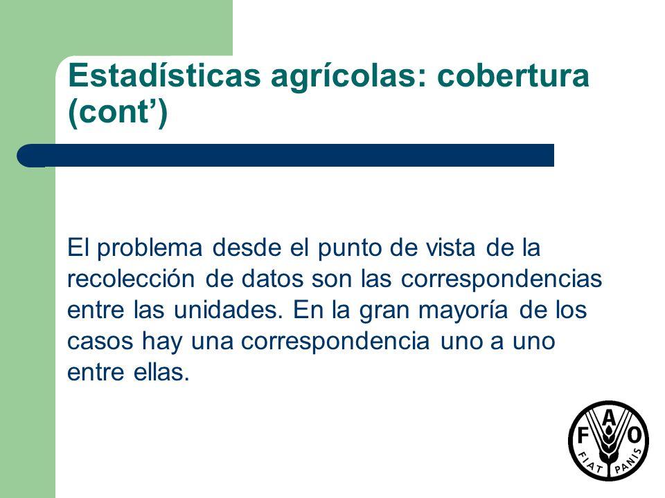 Estadísticas agrícolas: cobertura (cont')