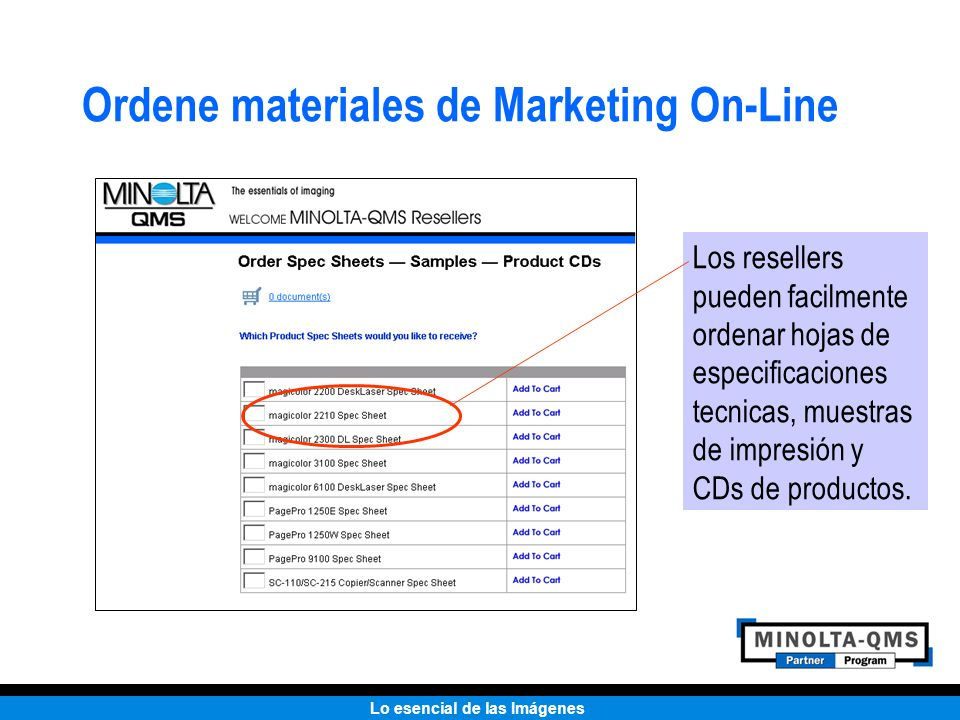 Ordene materiales de Marketing On-Line