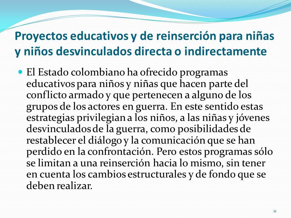 Proyectos educativos y de reinserción para niñas y niños desvinculados directa o indirectamente