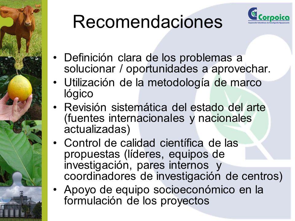 Recomendaciones Definición clara de los problemas a solucionar / oportunidades a aprovechar. Utilización de la metodología de marco lógico.