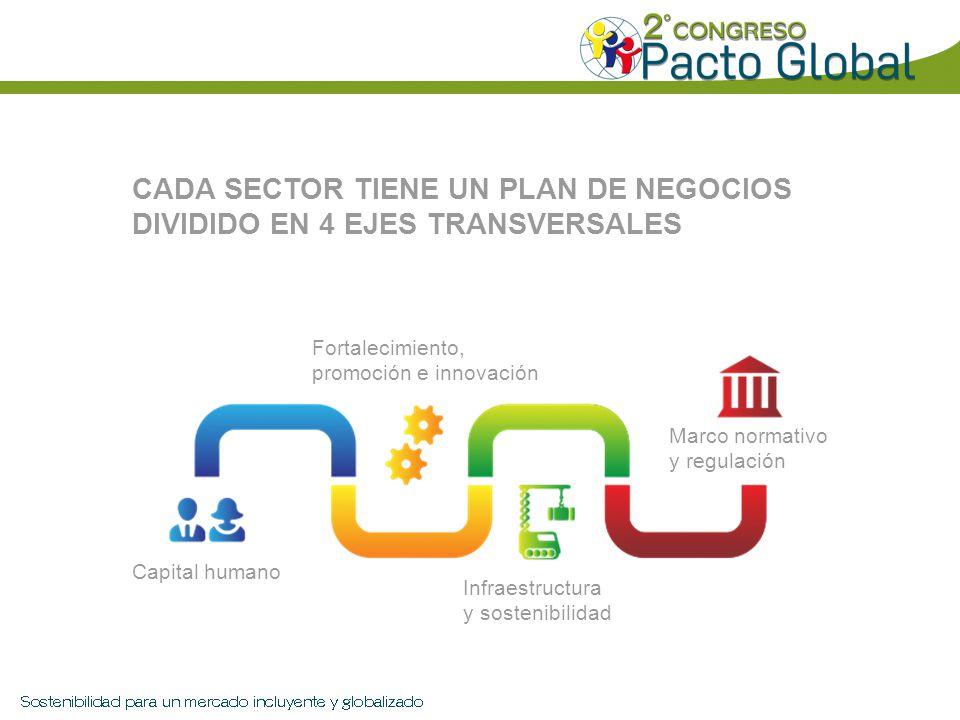 CADA SECTOR TIENE UN PLAN DE NEGOCIOS DIVIDIDO EN 4 EJES TRANSVERSALES