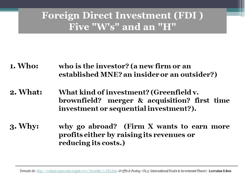 Foreign Direct Investment (FDI )