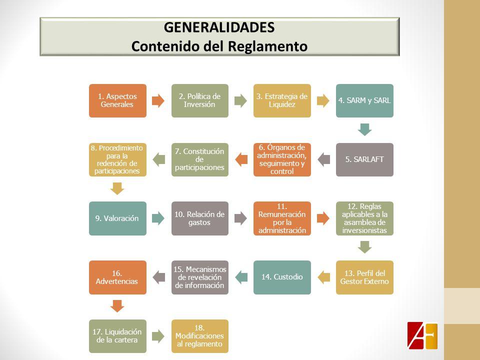 GENERALIDADES Contenido del Reglamento