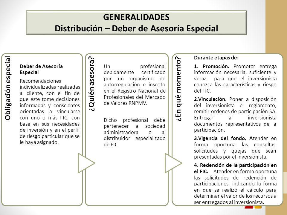 GENERALIDADES Distribución – Deber de Asesoría Especial