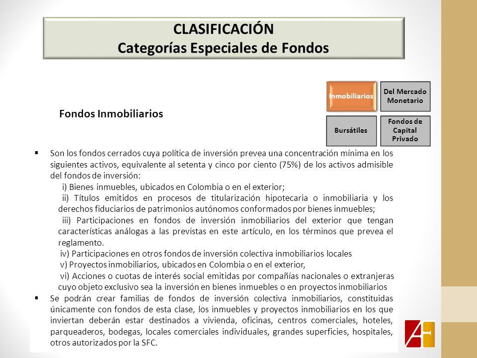 CLASIFICACIÓN Categorías Especiales de Fondos