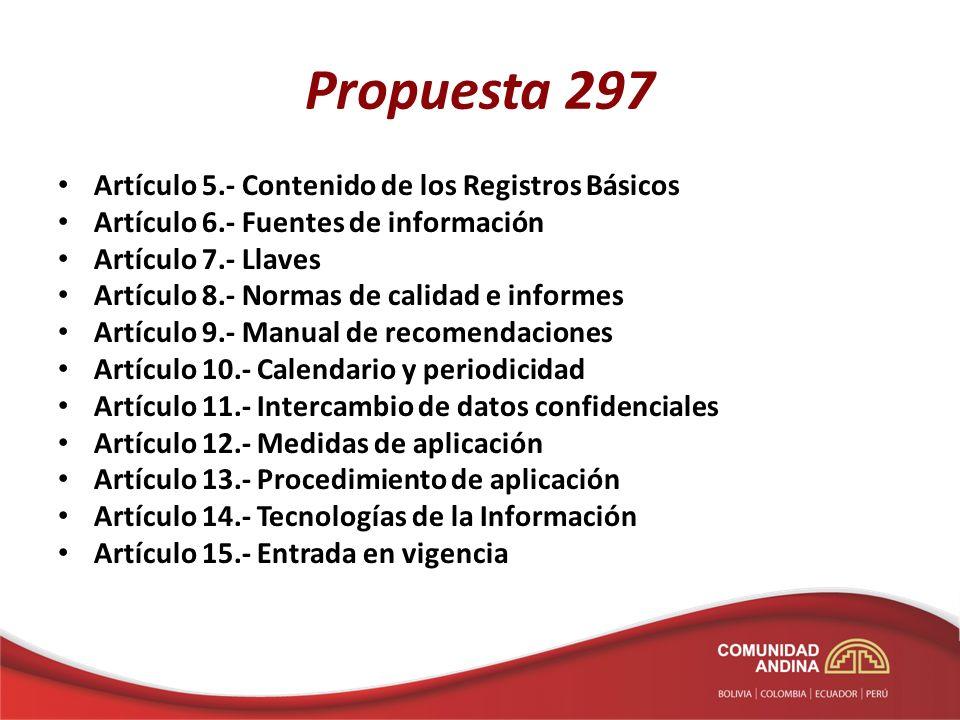 Propuesta 297 Artículo 5.- Contenido de los Registros Básicos