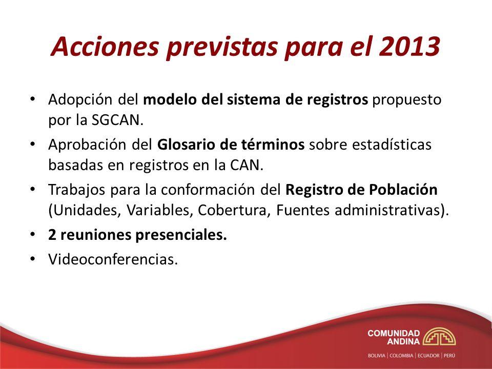 Acciones previstas para el 2013