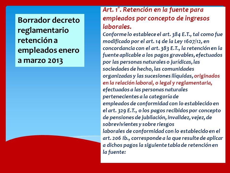 Art. 1°. Retención en la fuente para empleados por concepto de ingresos laborales. Conforme lo establece el art. 384 E.T., tal como fue modificado por el art. 14 de la Ley 1607/12, en concordancia con el art. 383 E.T., la retención en la fuente aplicable a los pagos gravables, efectuados por las personas naturales o jurídicas, las sociedades de hecho, las comunidades organizadas y las sucesiones ilíquidas, originados en la relación laboral, o legal y reglamentaria, efectuados a las personas naturales pertenecientes a la categoría de empleados de conformidad con lo establecido en el art. 329 E.T., o los pagos recibidos por concepto de pensiones de jubilación, invalidez, vejez, de sobrevivientes y sobre riesgos laborales de conformidad con lo establecido en el art. 206 Ib., corresponde a la que resulte de aplicar a dichos pagos la siguiente tabla de retención en la fuente: