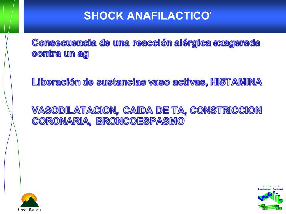 SHOCK ANAFILACTICO Consecuencia de una reacción alérgica exagerada contra un ag. Liberación de sustancias vaso activas, HISTAMINA.