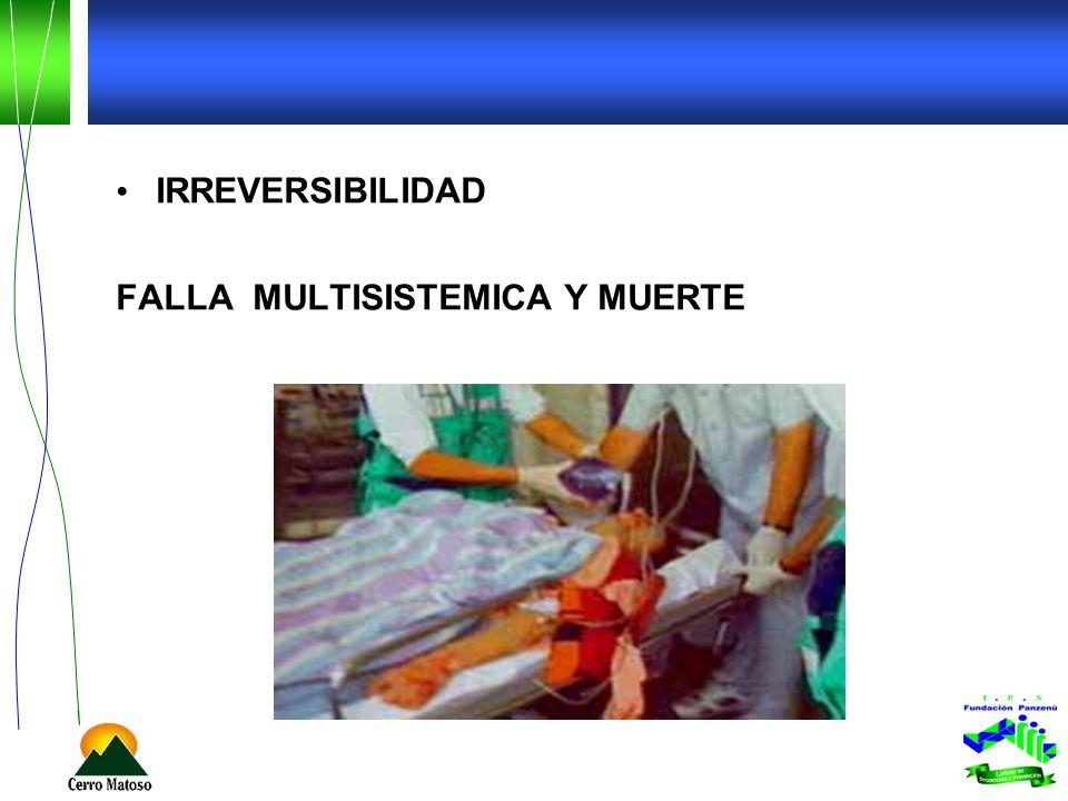 IRREVERSIBILIDAD FALLA MULTISISTEMICA Y MUERTE