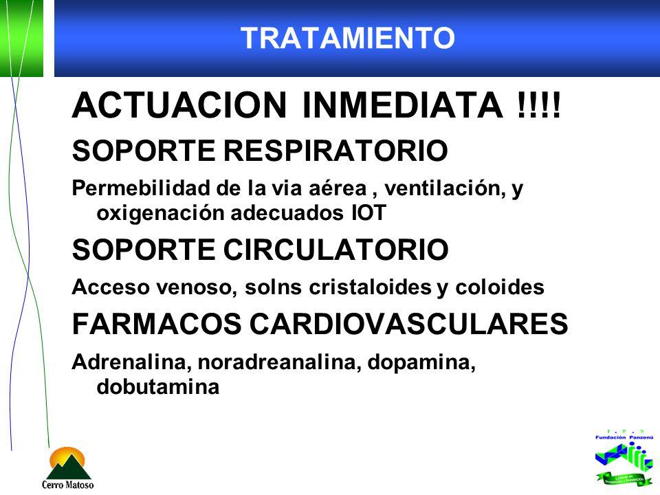 ACTUACION INMEDIATA !!!! TRATAMIENTO SOPORTE RESPIRATORIO