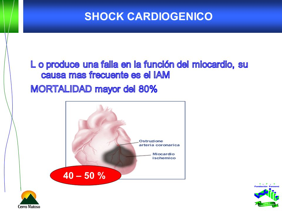 SHOCK CARDIOGENICO L o produce una falla en la función del miocardio, su causa mas frecuente es el IAM MORTALIDAD mayor del 80%
