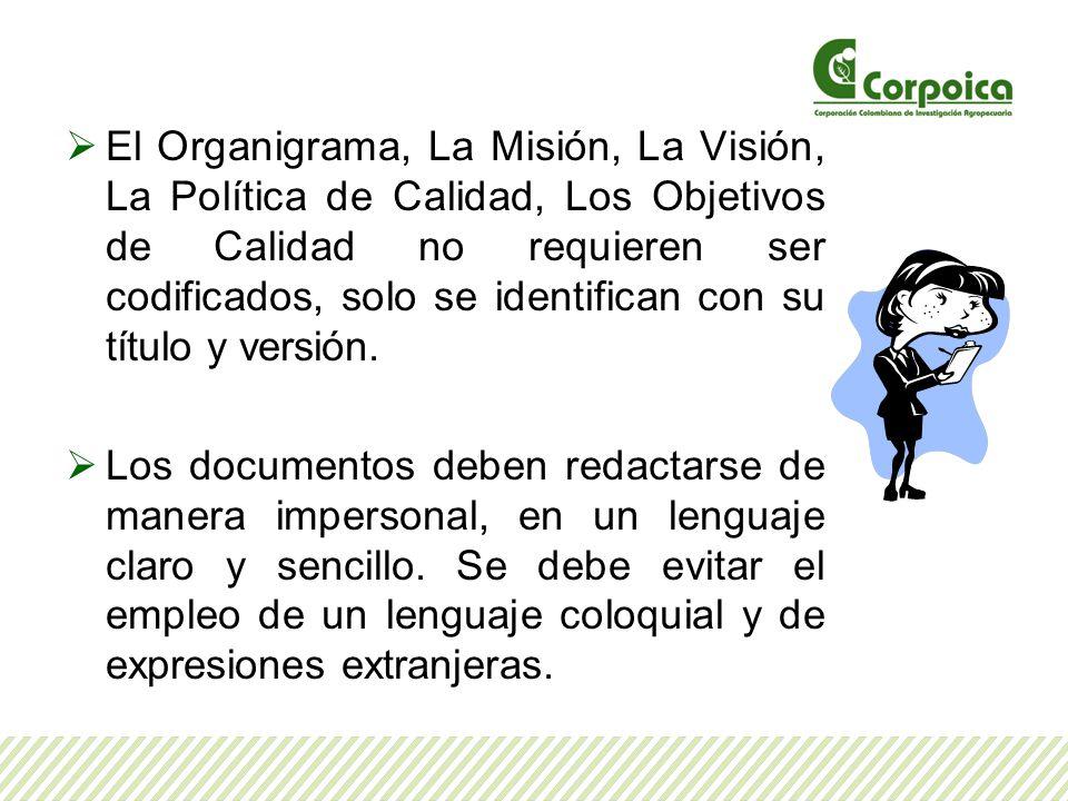 El Organigrama, La Misión, La Visión, La Política de Calidad, Los Objetivos de Calidad no requieren ser codificados, solo se identifican con su título y versión.